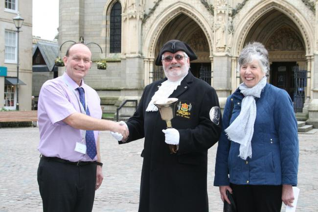 Alun Jones Truro BID Manager with Truro Town Cryer Lionel Knight and his partner Carol.