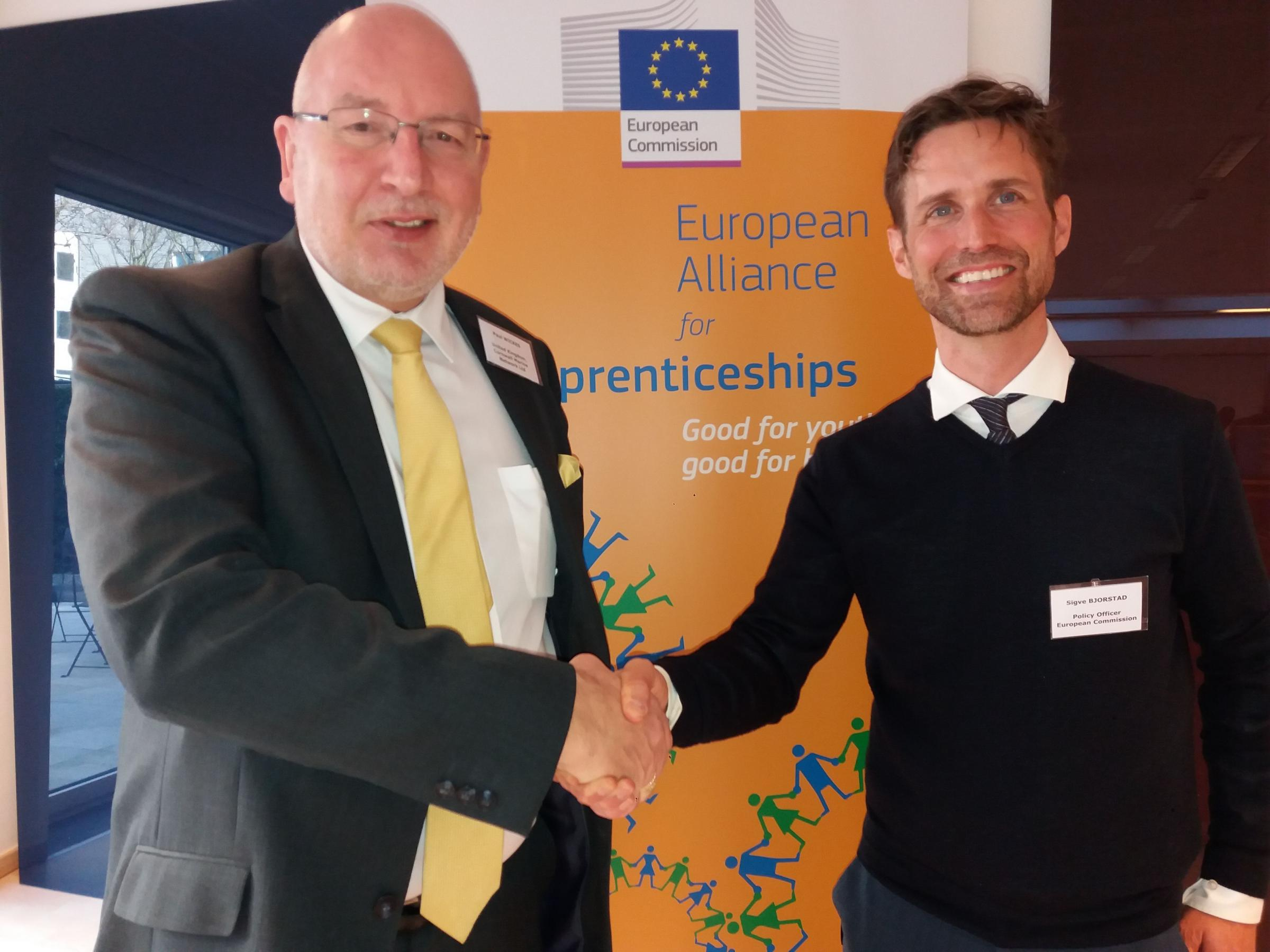 Paul Wickes, CEO Cornwall Marine Network, and Sigve Soldal Bjorstad,DG EMPLOY at the European Commission, at the 10th EAfA stakeholder meeting in Brussels