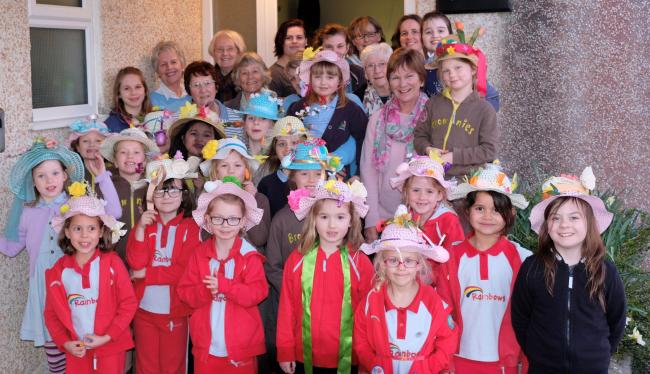 Mawnan Rainbows and Brownies with WI members
