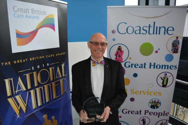 Derek Law with his Great British Care Award for Outstanding Contribution to Social Care.