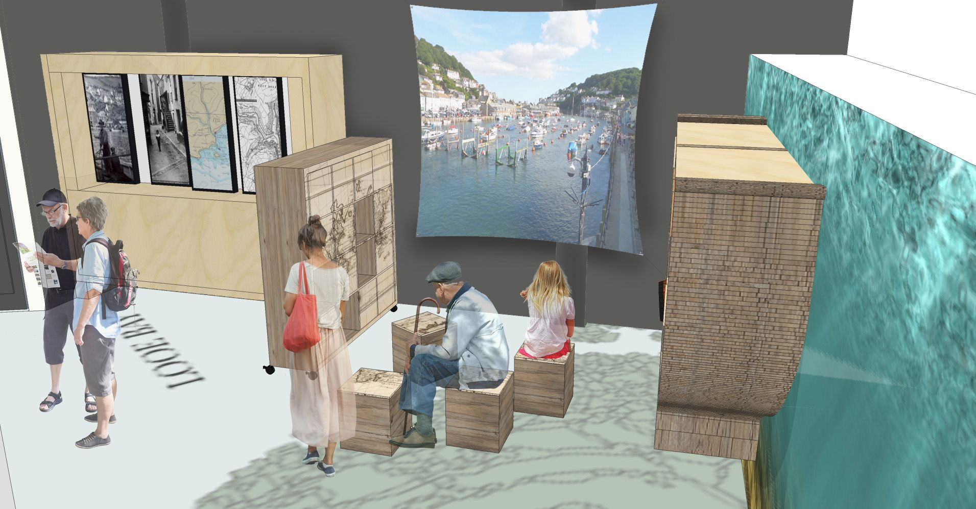 Concept design from 20/20 Projects for the new Looe Heritage Centre exhibition.