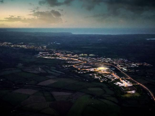 A 3d rendering new developments near Threemilestone and the Stadium for Cornwall