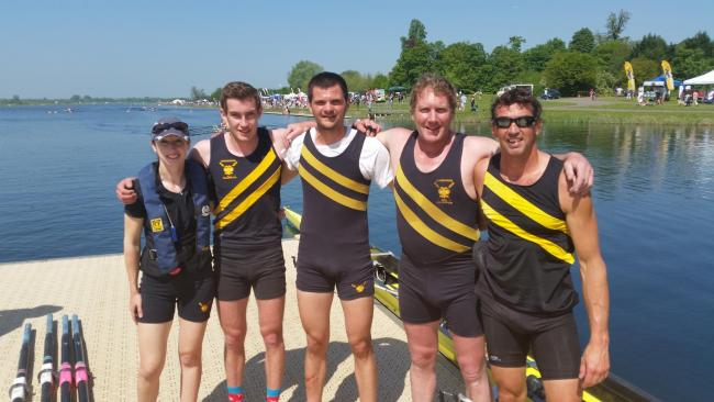 Photo left to right: Sarah Lewis (cox), Lex Kerr, Tim Wilkinson, James Kerr, Matthew Pullen