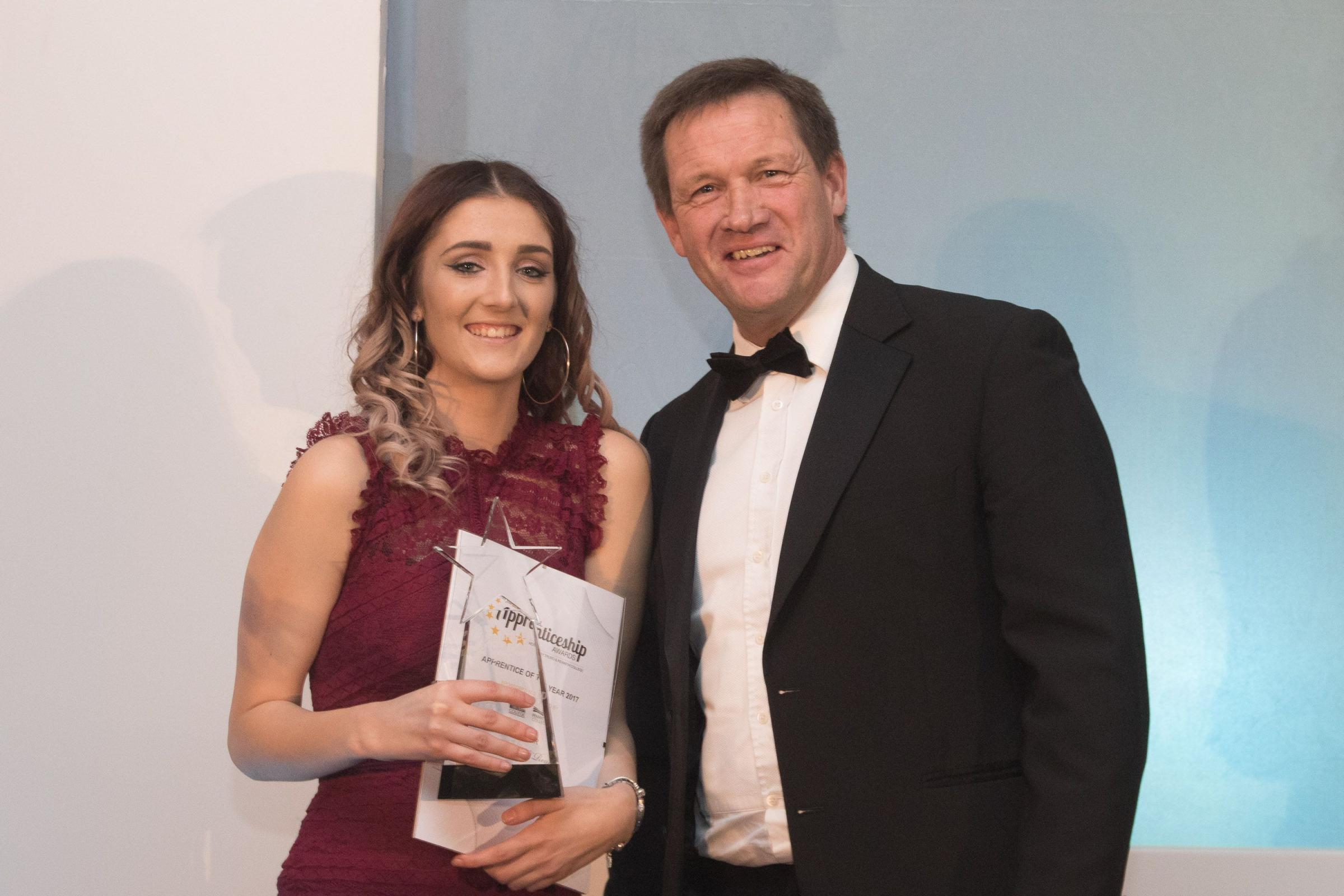 - Apprentice of the Year and Hair and Beauty Apprentice of the Year in 2017 Shannon O Regan with Martin Tucker, Director of Operations at Truro and Penwith College.