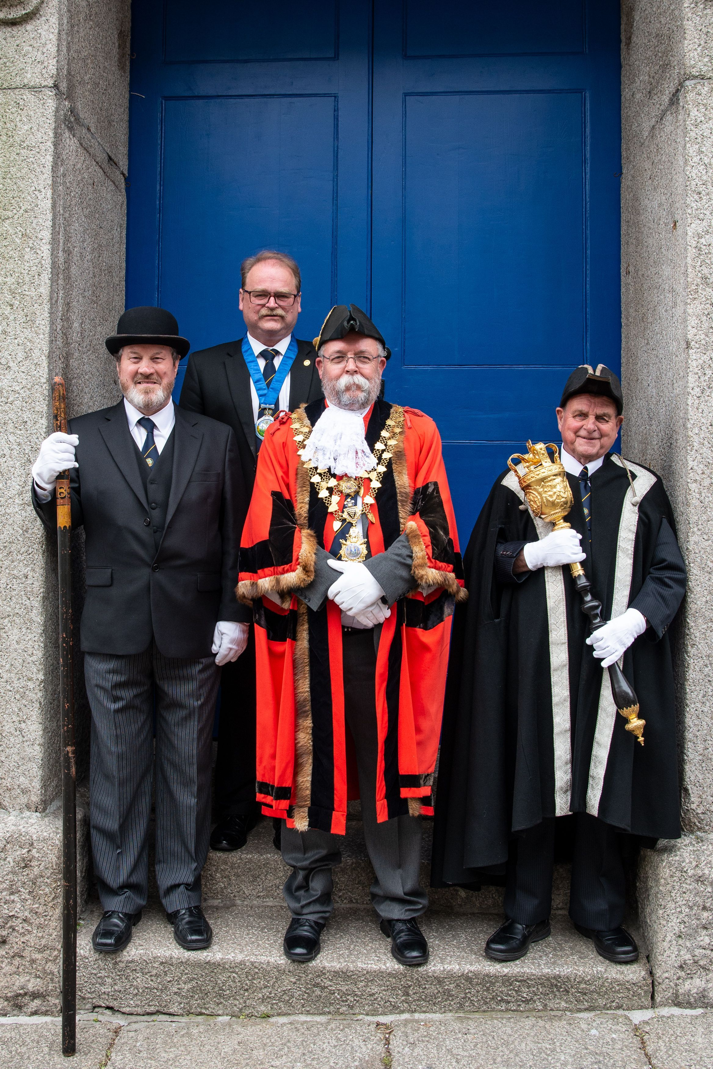 New mayor John Martin and his deputy Tim Gratthan-Kane, with the town beadle and mace bearer