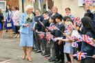The Duchess of Cornwall leaves St James' Church of England Junior School in Gloucester (Ben Birchall/PA)