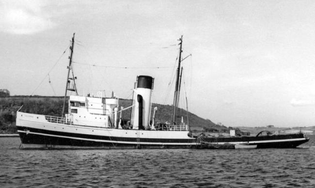 The United Towing Company salvage tug at anchor in the inner harbour in the 1950's