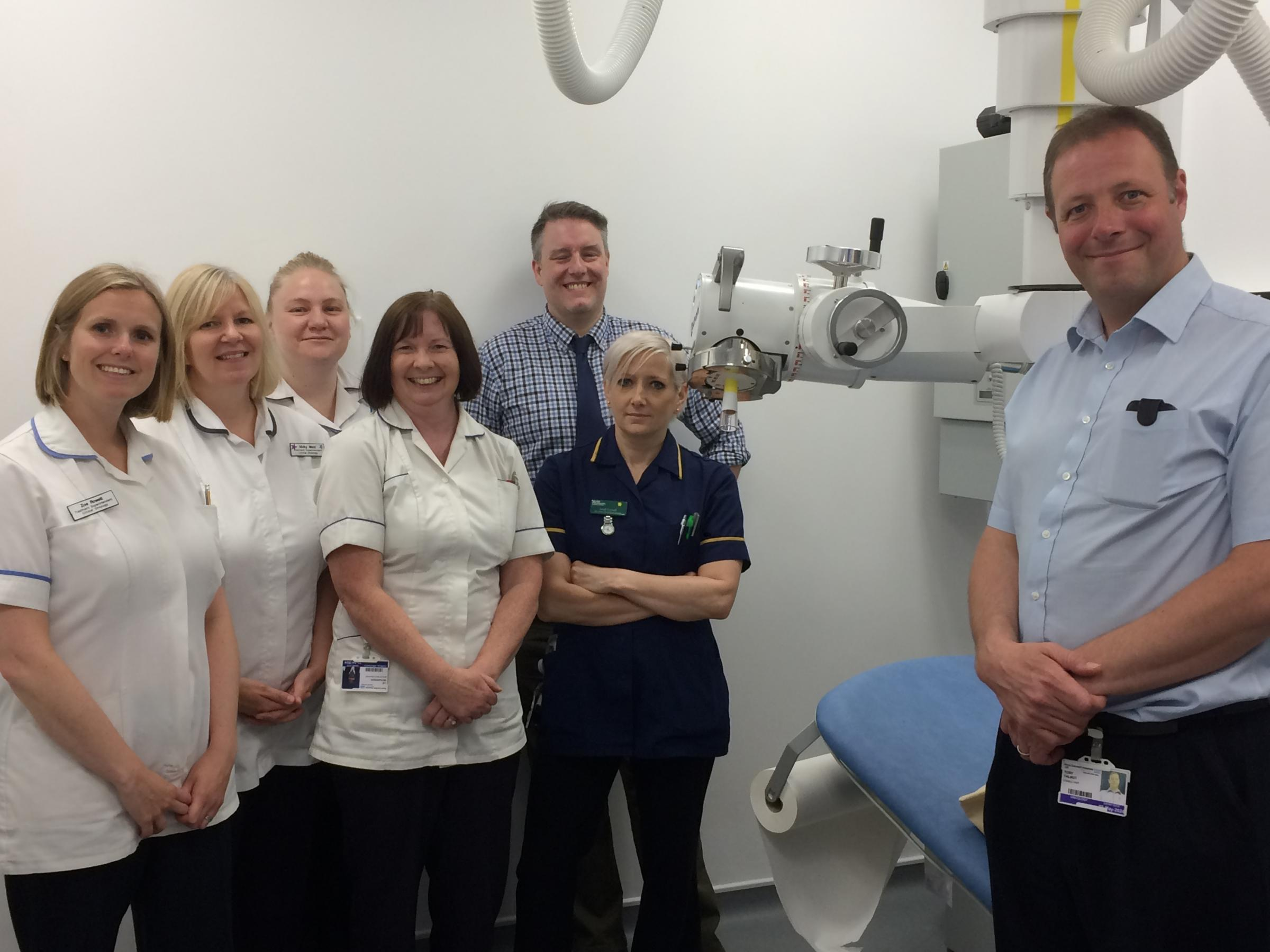 Members of the Sunrise Centre oncology team on the first day of operation for the superficial radiotherapy treatment unit