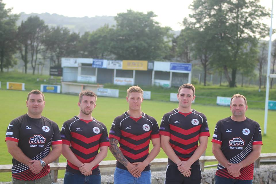(Left to right): New Forwards coach Justin Coleman, Dan Duval, Danny Richards, Nick Slaney and Head of Rugby Dave Levick