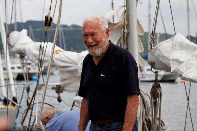 Sir Robin Knox-Johnston arriving in Falmouth ahead of the Suhaili 50th Anniversary Parade of Sail this year