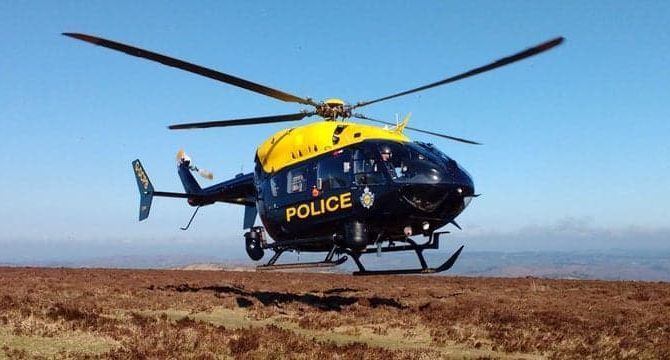The police helicopter was scrambled to a reported child abduction. Photo: NPAS Exeter/Twitter