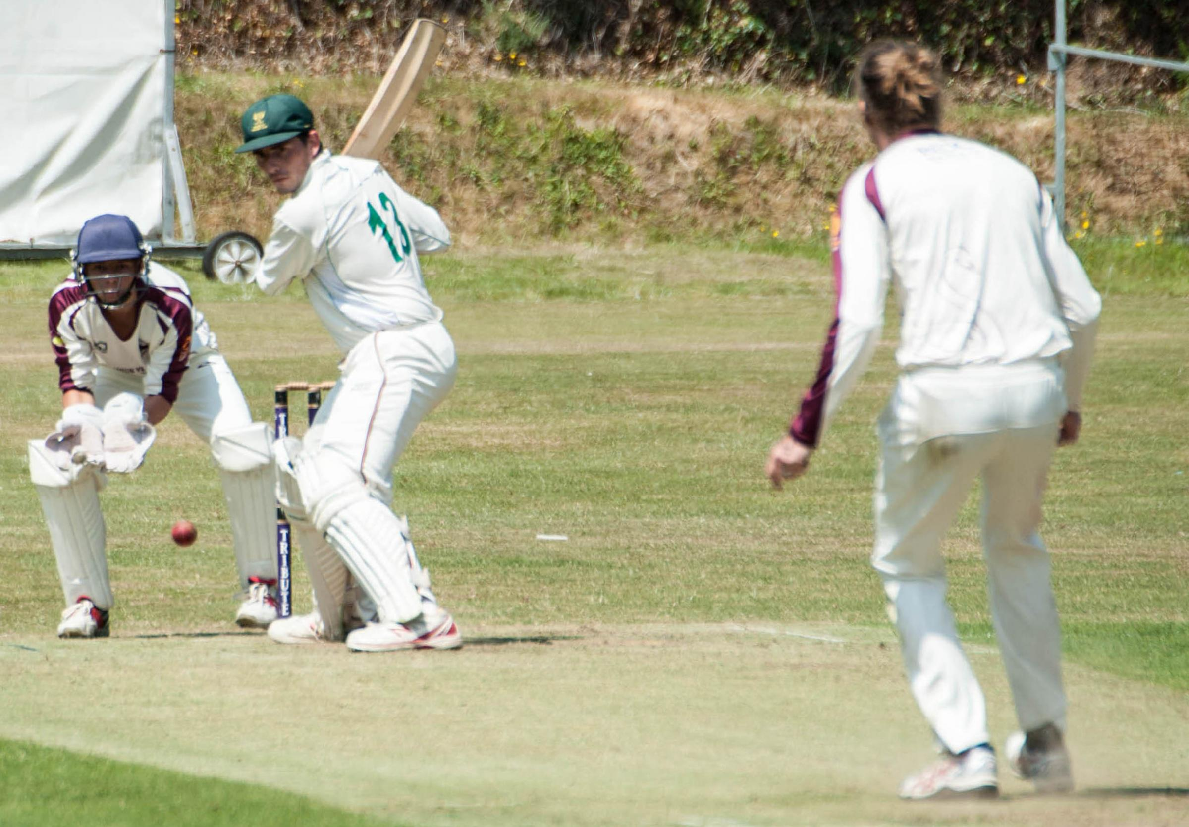 Falmouth batsman Scott Kellow (centre) scored 61 runs as his side beat St Just by one wicket in the Premier Division on Saturday. Picture by Colin Higgs