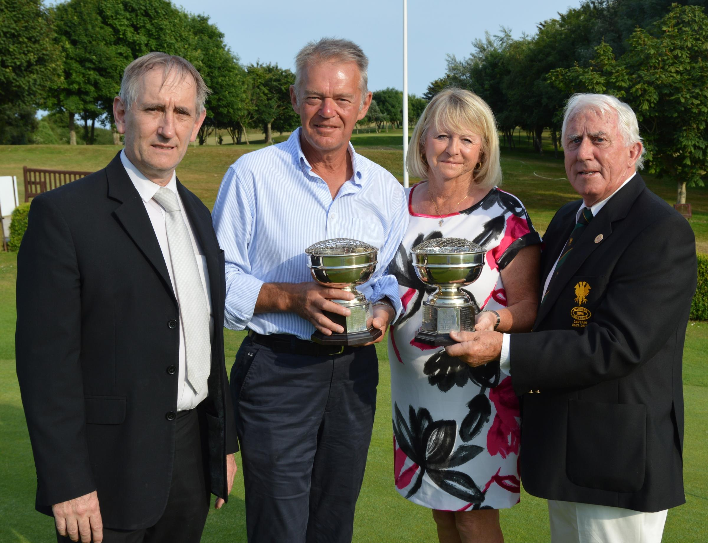 Left to right: Barry Taylor of The Royal Duchy Hotel, winners Dicky and Lynne Dickinson and William McLean Captain of Falmouth Golf Club