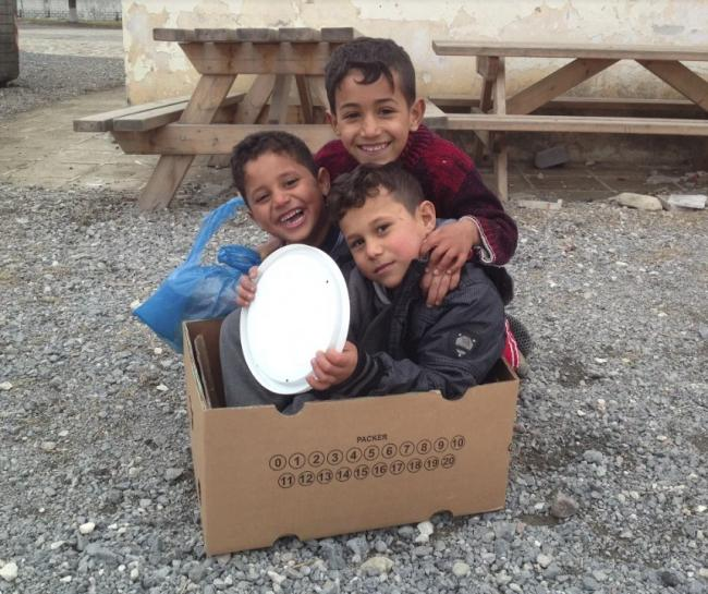 Children at a refugee camp in Greece. Photo taken by Bea Shrewsbury from the Falmouth and Penryn Welcome Refugee Families group