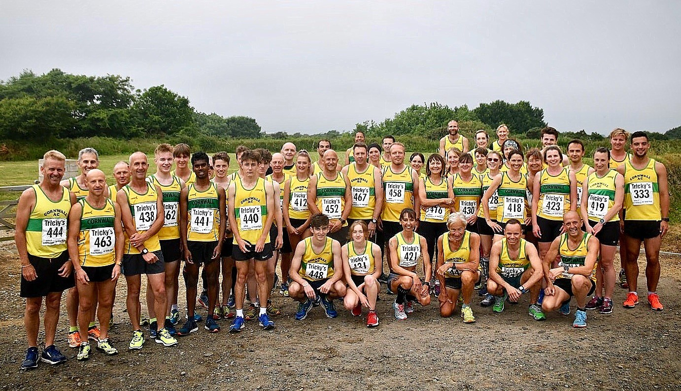 Cornwall AC's teams gather at the start of the biannual Turkey Trot, which took place last week