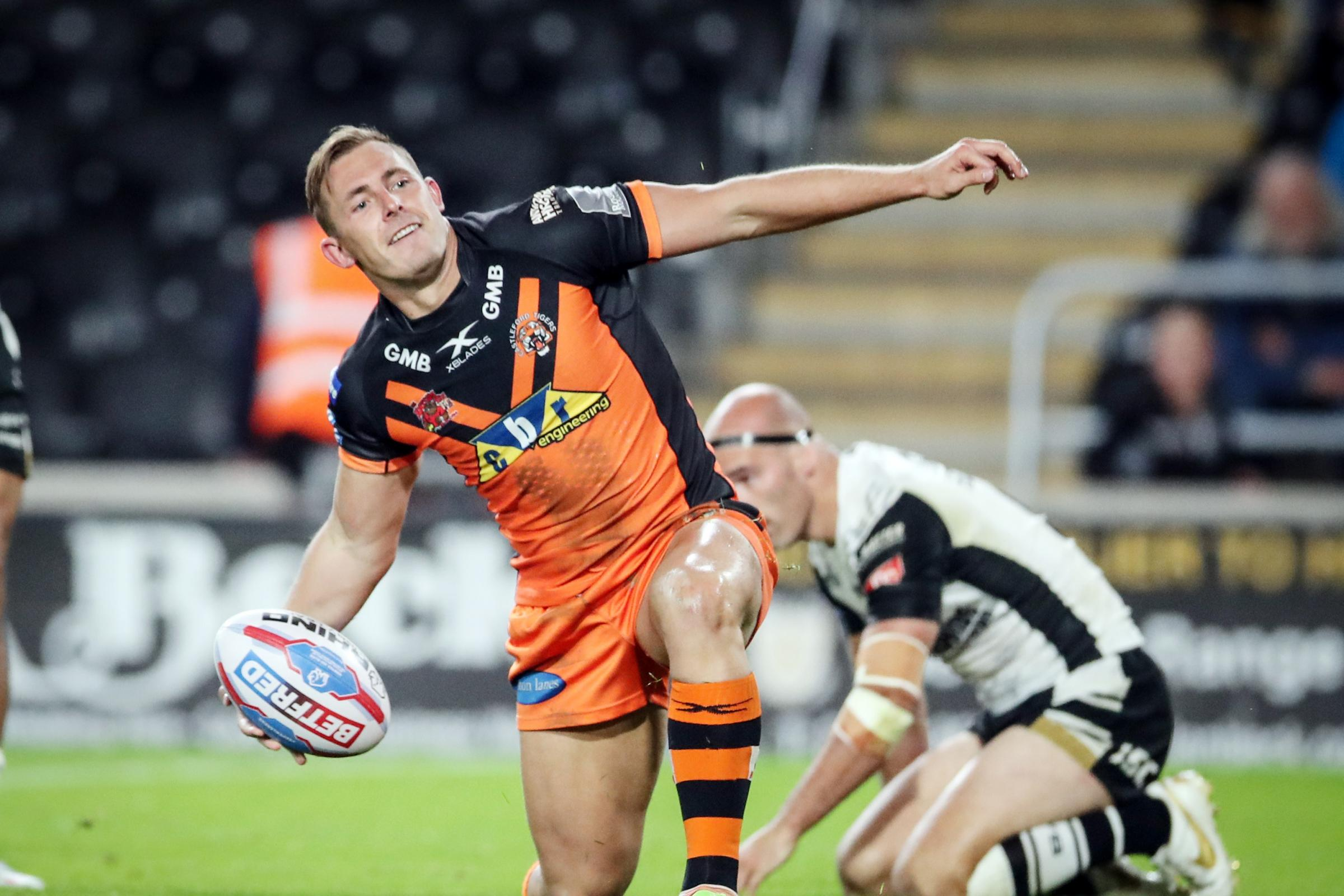Greg Eden celebrates a try for Castleford against Hull in this season's Super 8s