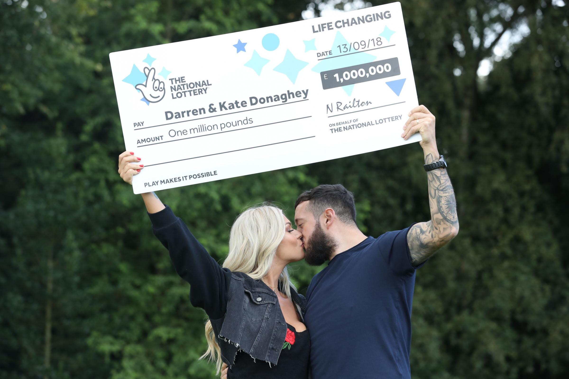 Darren and Kate Donaghey from Newcastle, celebrate their £1 million National Lottery Scratchcard win