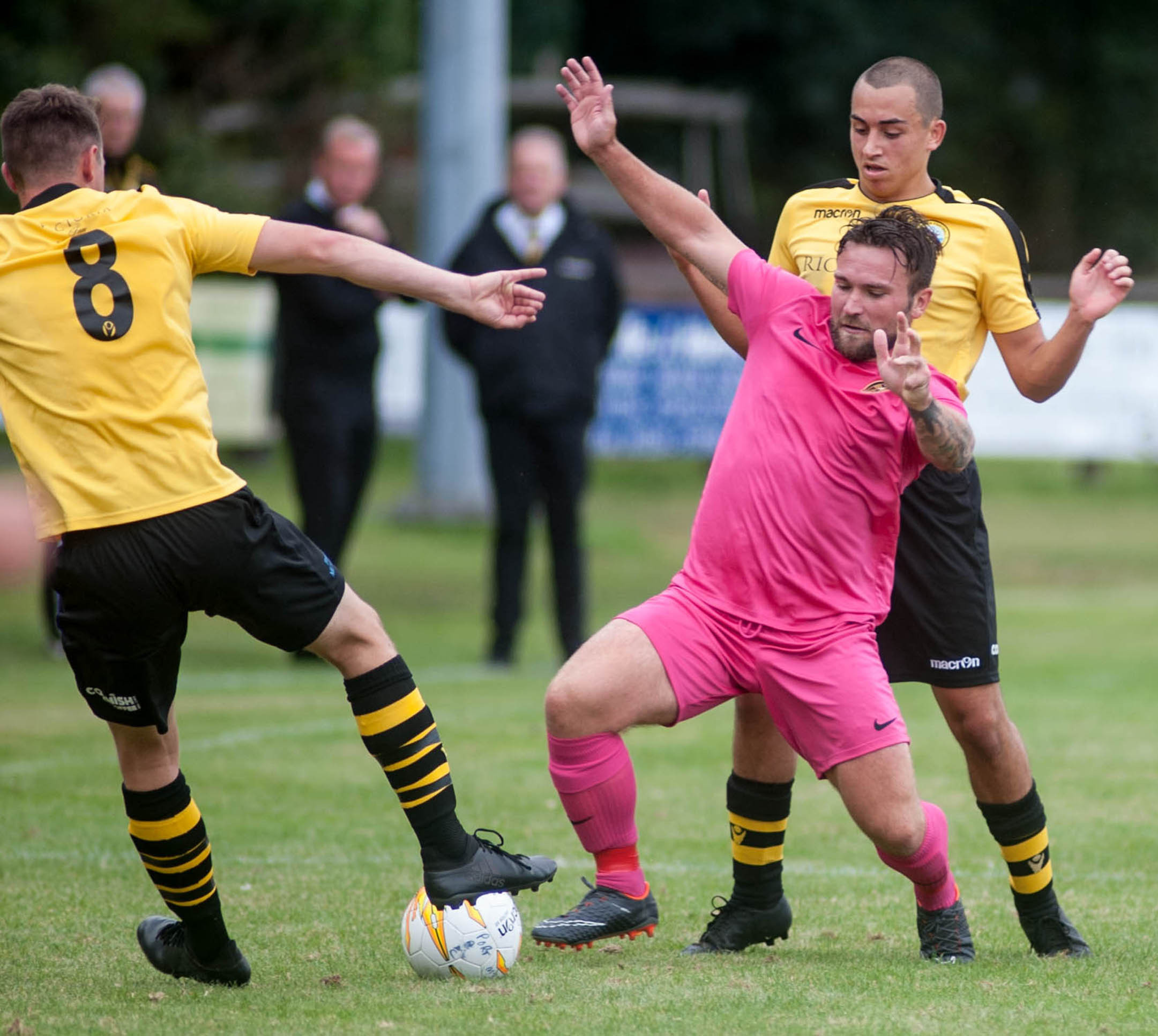 Porthleven versus Torpoint: Porthleven's Dan Greet and Jake Lugg. Picture by Colin Higgs