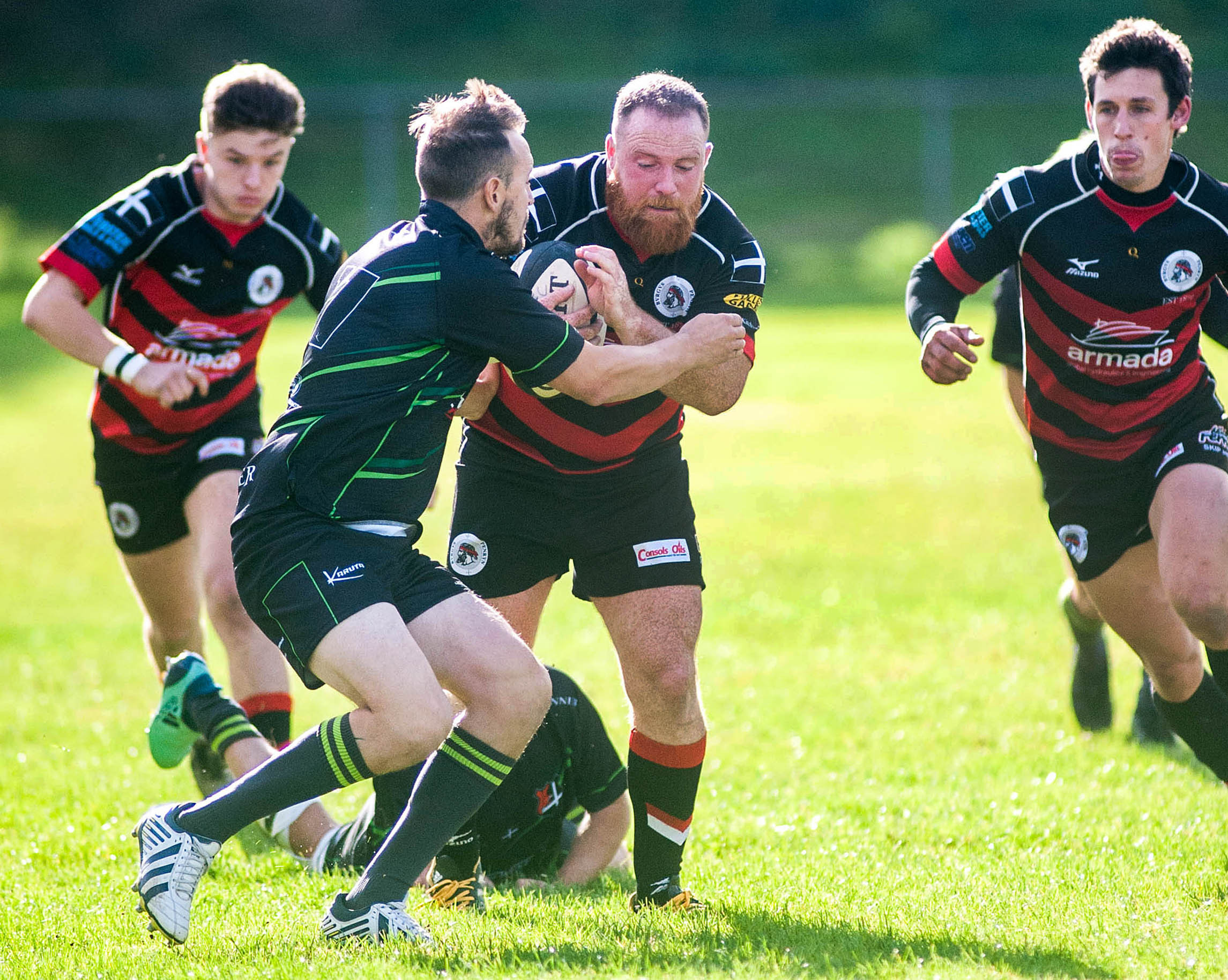 Penryn's Andrew Seviour (centre) in possession during his side's 73-14 win at home to Lanner on Saturday. Picture by Colin Higgs