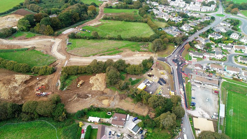 An aerial view of the Persimmons Homes development off Bickland Water Road. Pictures by Steve Strachan.