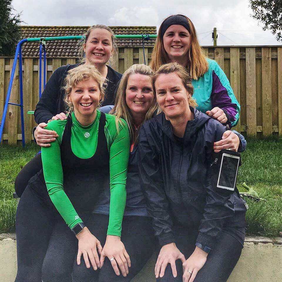 Five Falmouth friends who are raising money for two boys: Mary Heard, Leila Doney, Gail Muller, Jane Pascoe and Becky Westlake