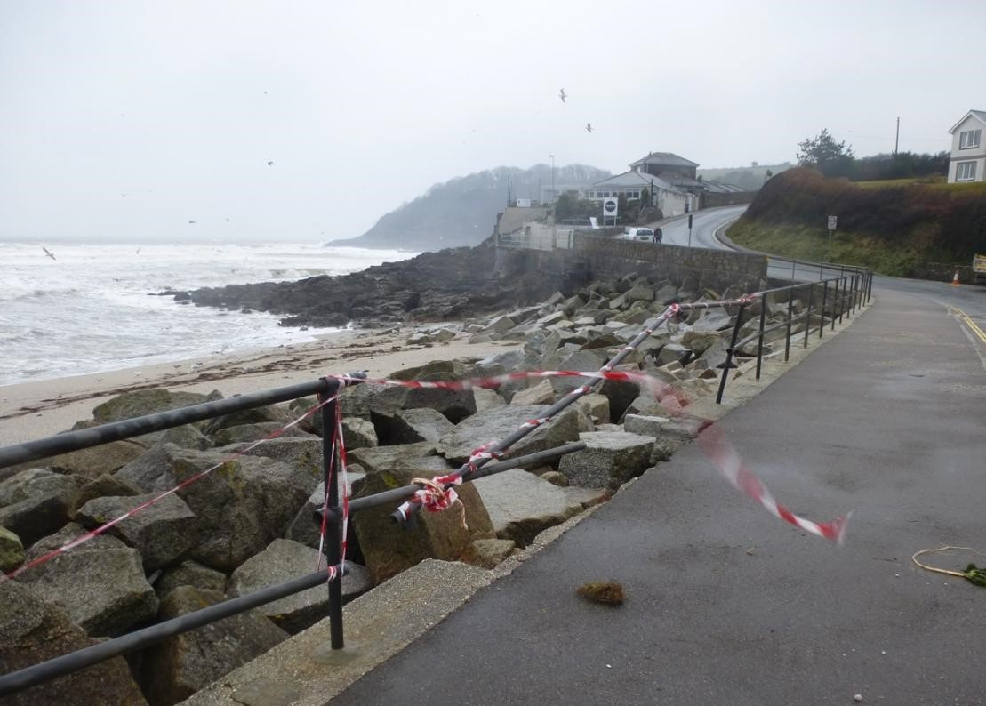 Storm damaged railings at Swanpool in March this year