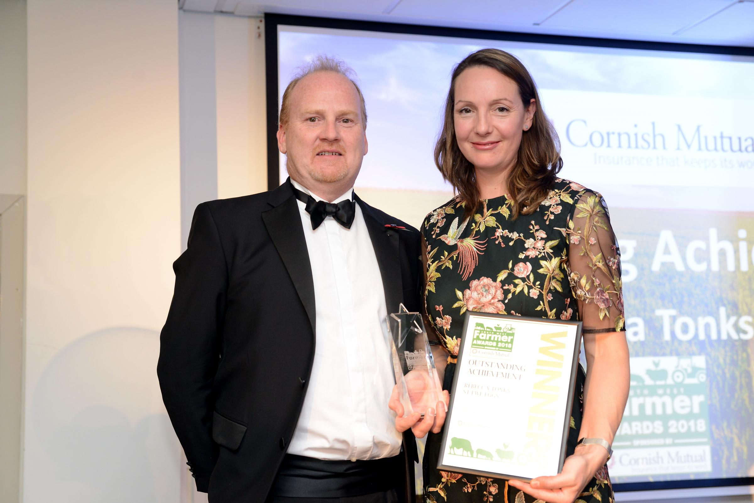 The South West Farmer Awards 2018. Pictured Peter Baumont from Cornish Mutual with Rebecca Tonks winner of the Outstanding achievement Award 2018.