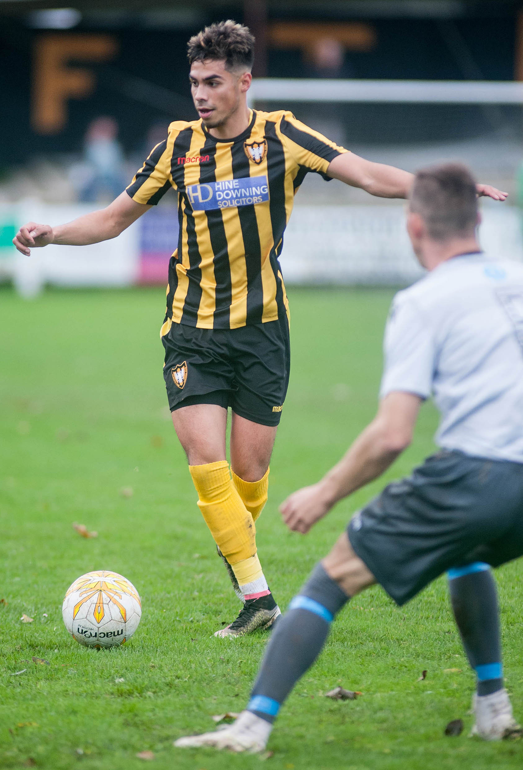 Falmouth Town midfielder Tim Nixon scored a superb equalising goal in his side's 2-1 win at home to Brixham on Saturday. Picture by Colin Higgs