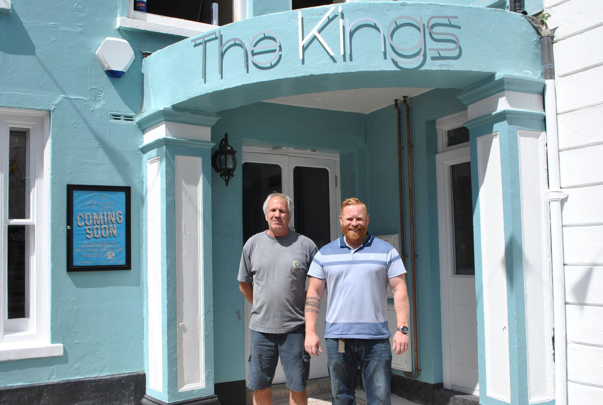 Company directors Chris Sanders and Simon Fudge outside the revamped and renamed The Kings