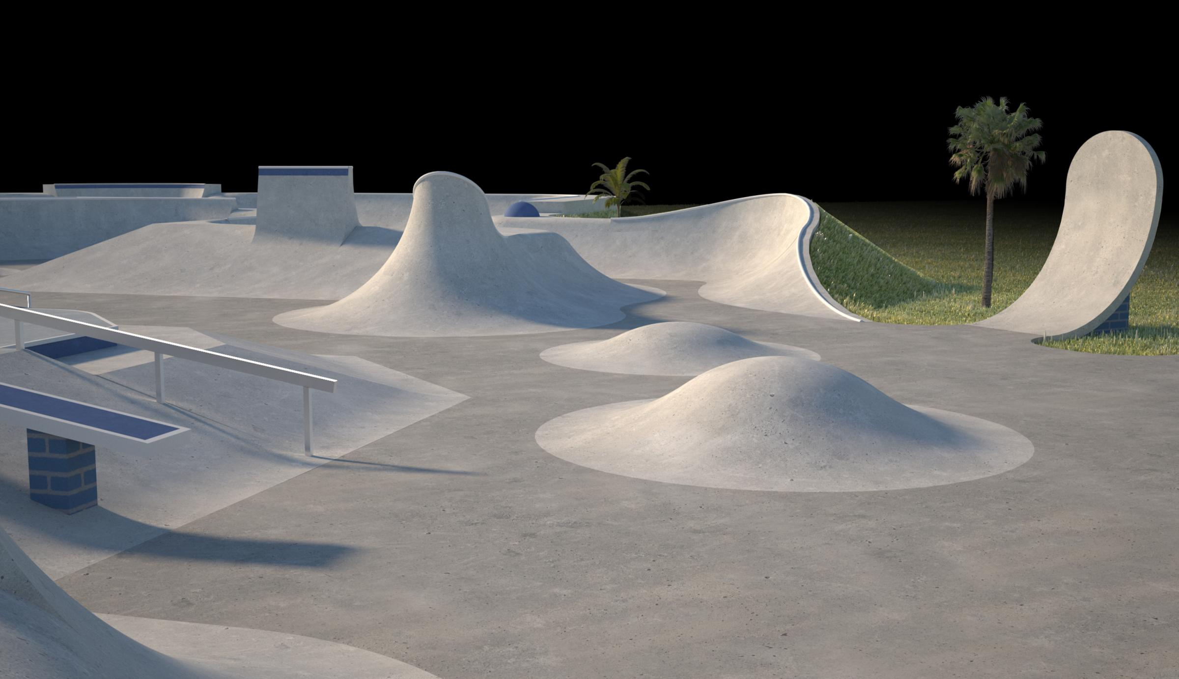 An artist's impression of a section of the Falmouth Skatepark