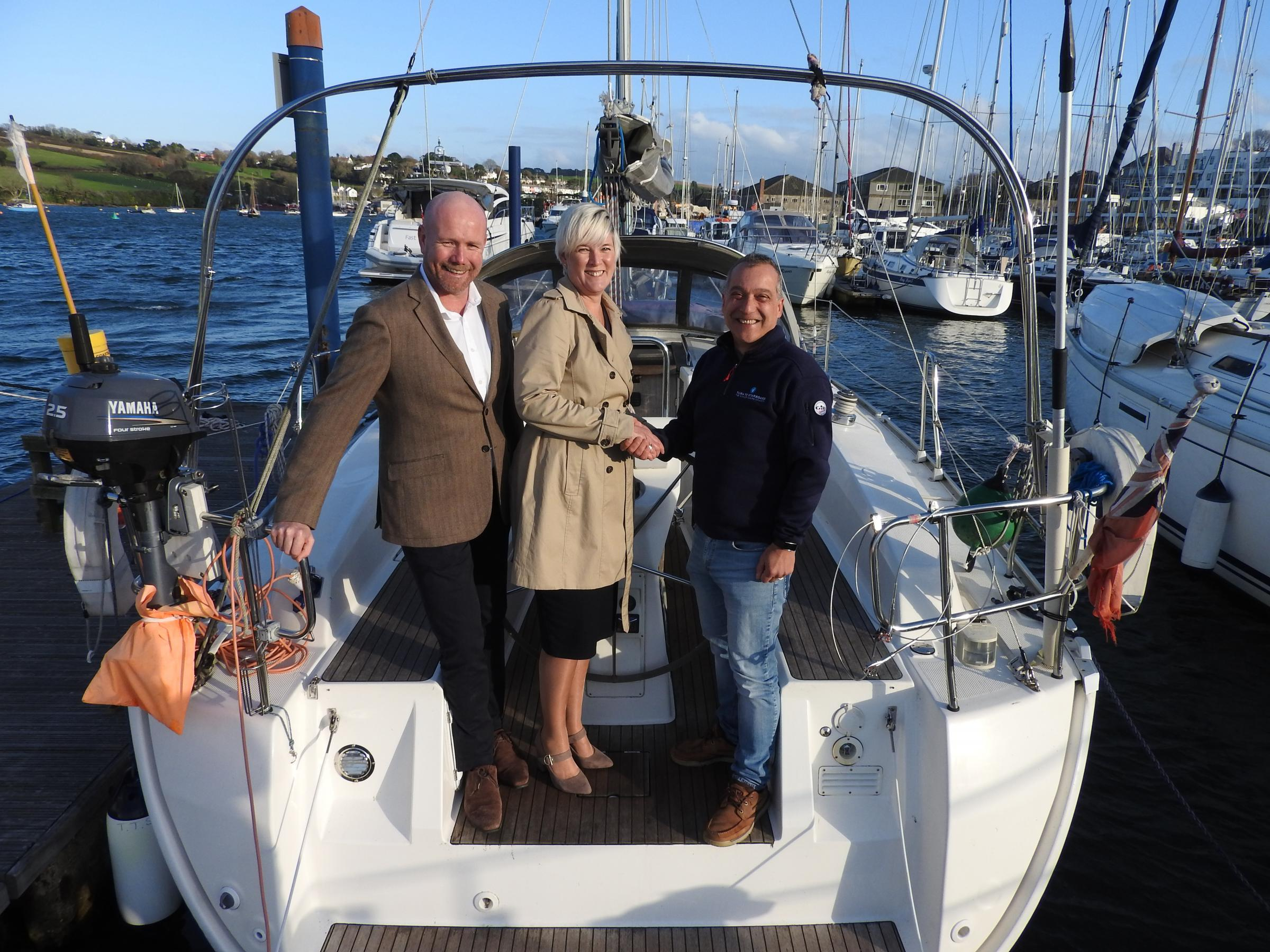 Left to right: Martin & Co owners Jon and Felicia Sampson with Turn to Starboard CEO Shaun Pascoe