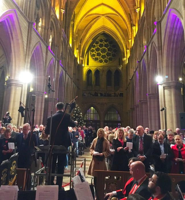 The annual Radio Cornwall carol service at Truro Cathedral was attended by almost 1,000 people. Photo: BBC