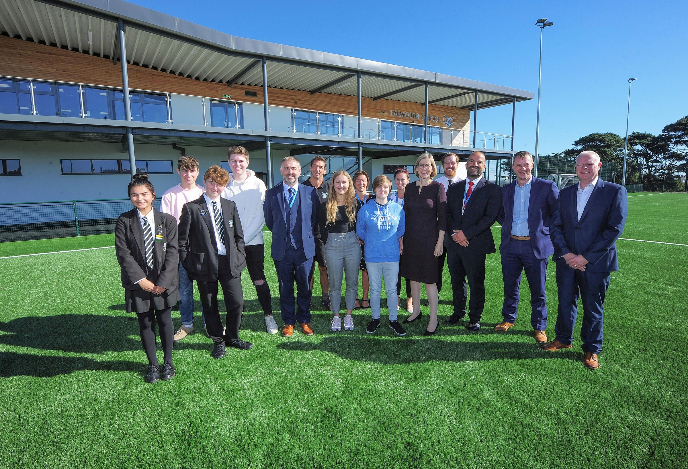 Students and teachers from Falmouth School with MP Sarah Newton at the opening of the sports hub last September