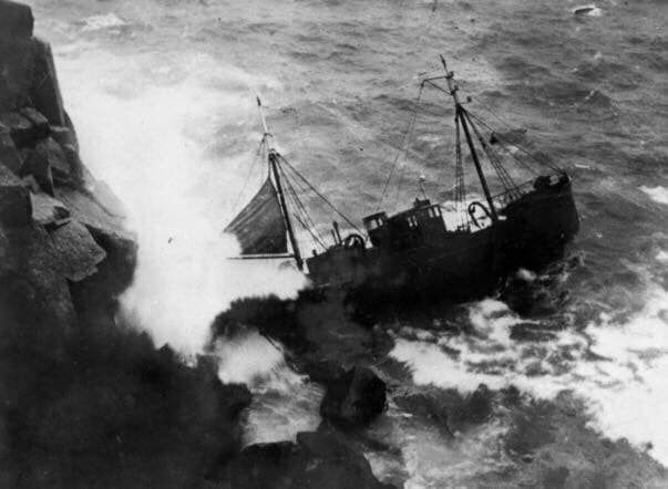 The wreck of the Vièrge Marie in west Cornwall in 1937. Photo: Penlee Lifeboat