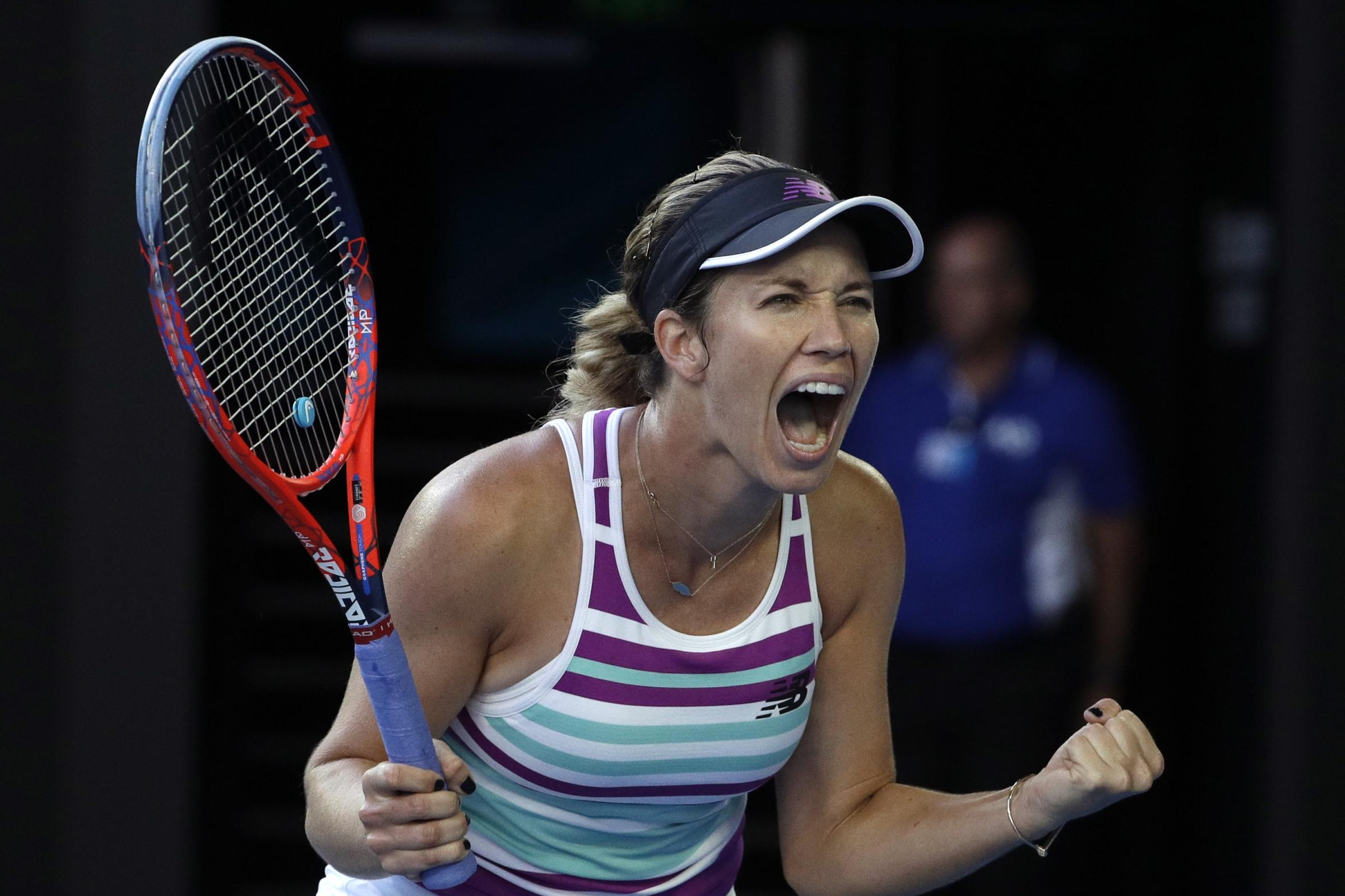 Danielle Collins shows her delight after beating Anastasia Pavlyuchenkova