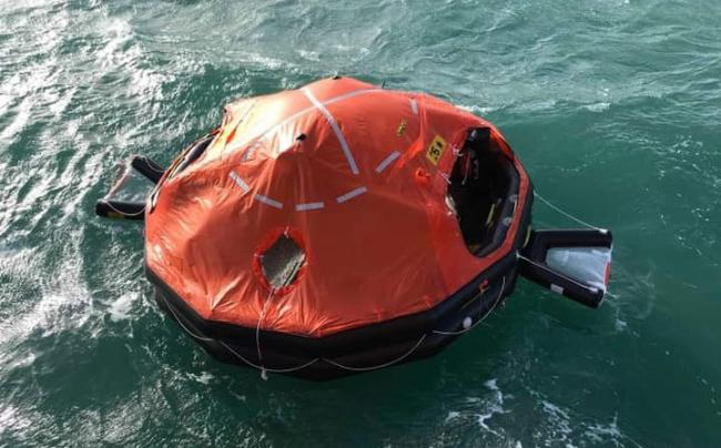 The life raft was spotted drifting in the sea off Newlyn. Photo: Penlee Lifeboat