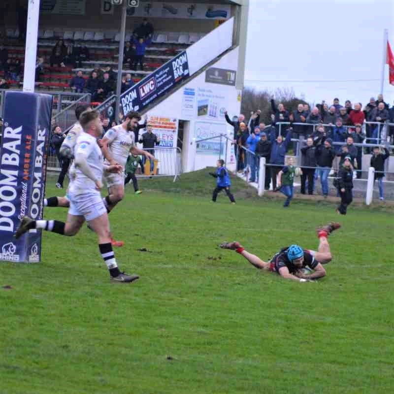 Declan Matthews was one of four try scorers for Camborne on Saturday
