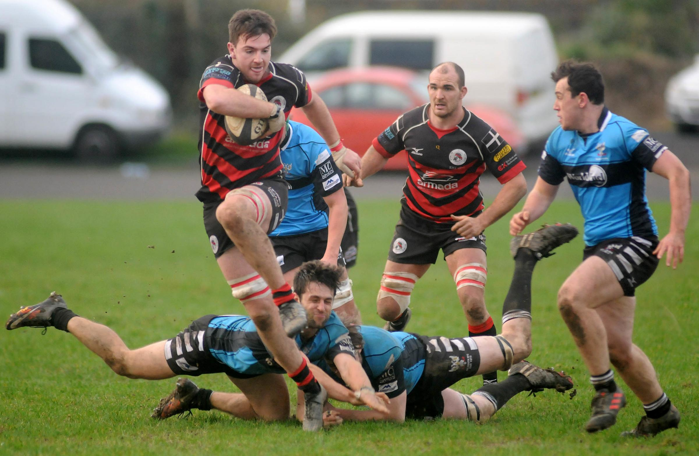 Adam Hughes scored four tries in Penryn's win over Hayle. Picture by Colin Higgs