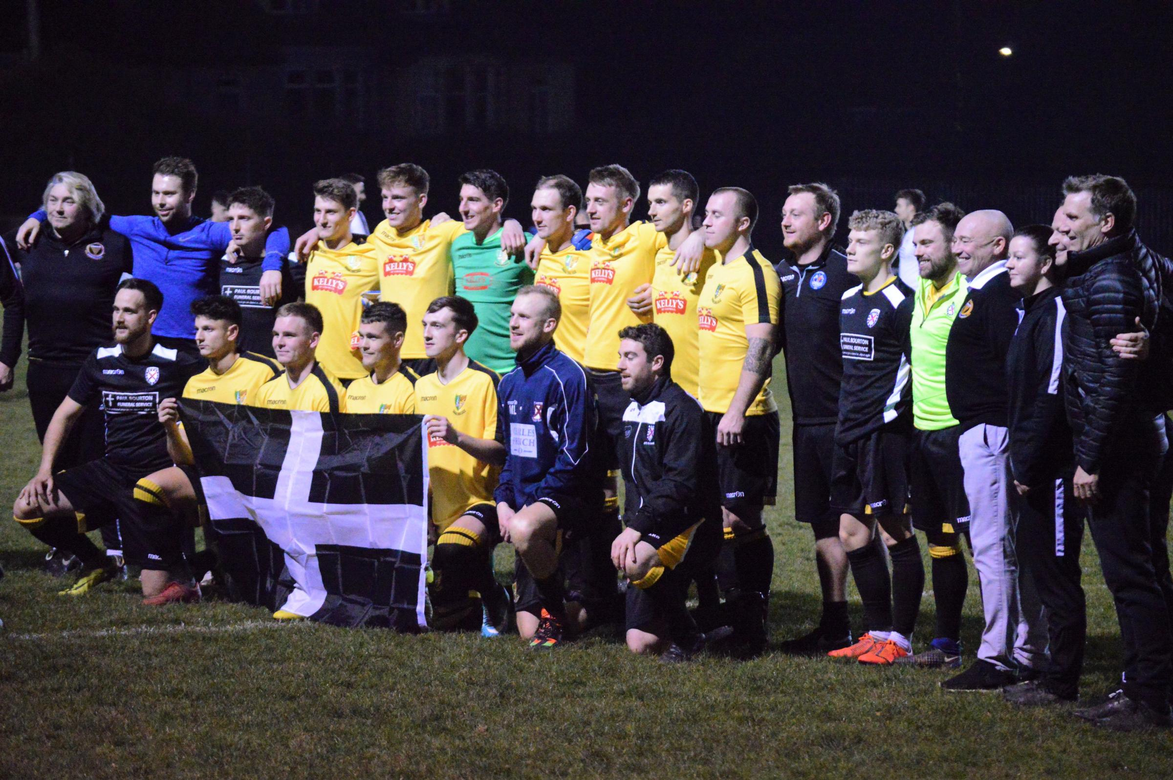 Members of the Kernow Football Alliance prior to kick-off on Monday night