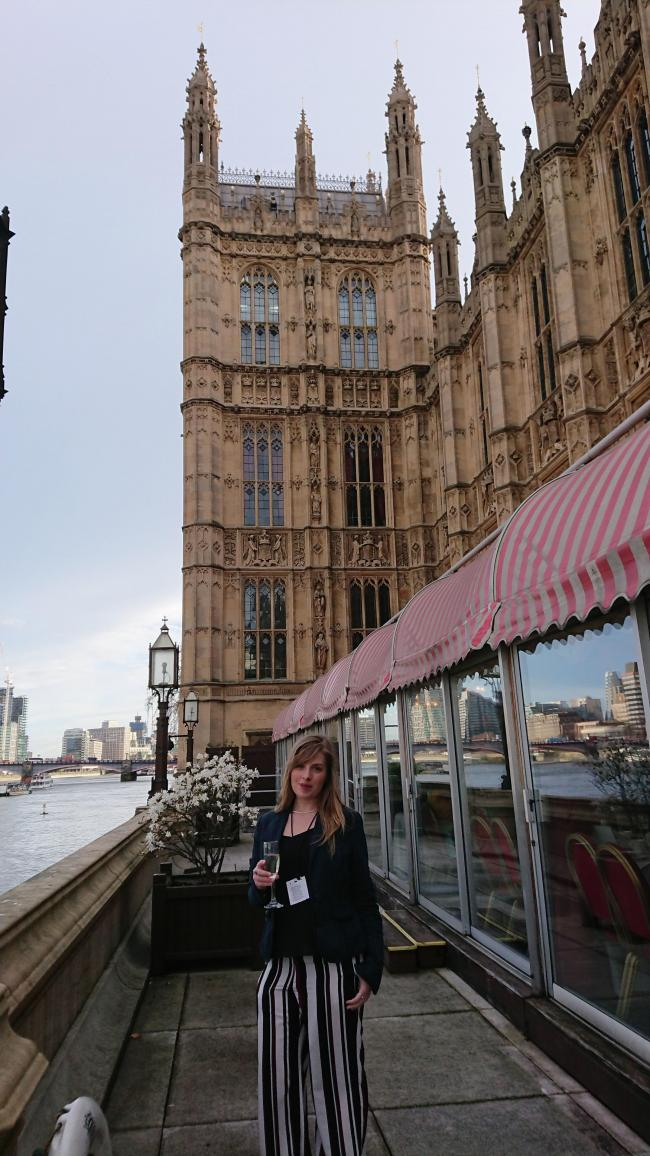 Katherine George, of Oh So Social, outside the House of Lords