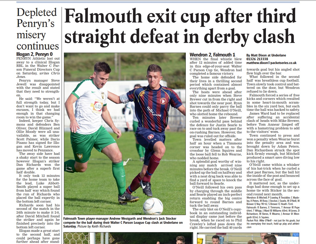 This week's Classic Clash is Wendron United's 1-0 win at Falmouth Town in the Walter C Parson League Cup, but when was it played?