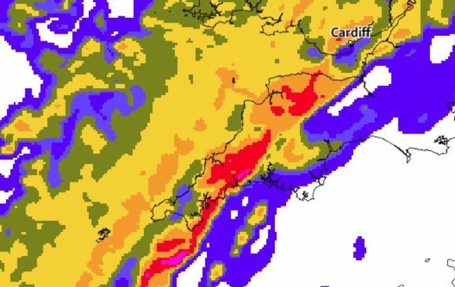 Heavy rain is forecast for Cornwall during Tuesday morning. Image: Met Office