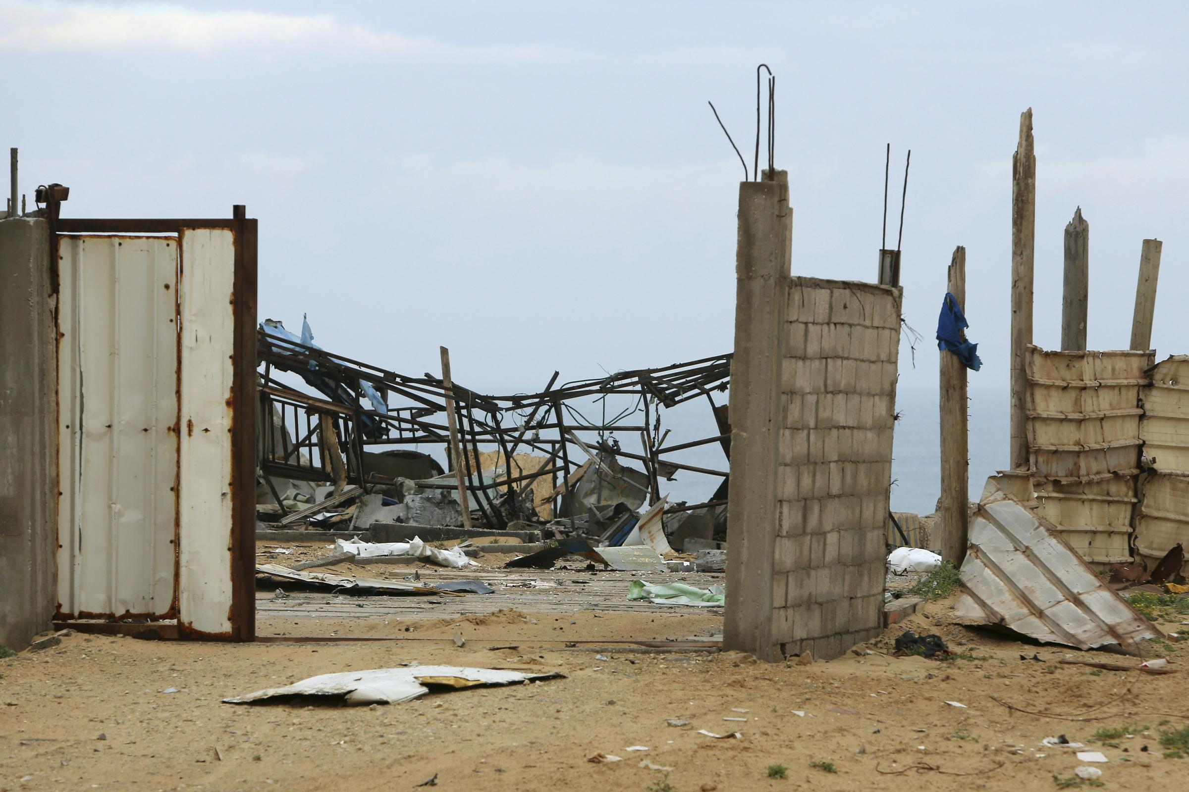 The wreckage of a Hamas military site in Gaza City