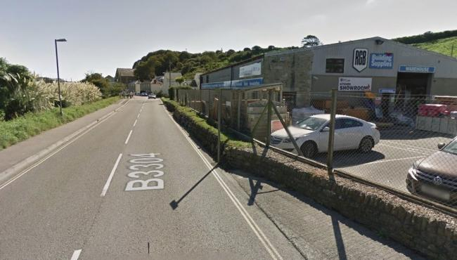 The crash in Porthleven is near RGB Building Supplies