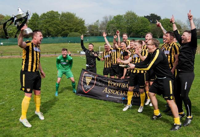 Falmouth Town lifted the Cornwall Senior Cup in April. Picture by Colin Higgs