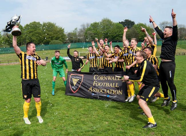 Falmouth Town lifted the Cornwall Senior Cup for the first time in 22 years. Picture by Colin Higgs