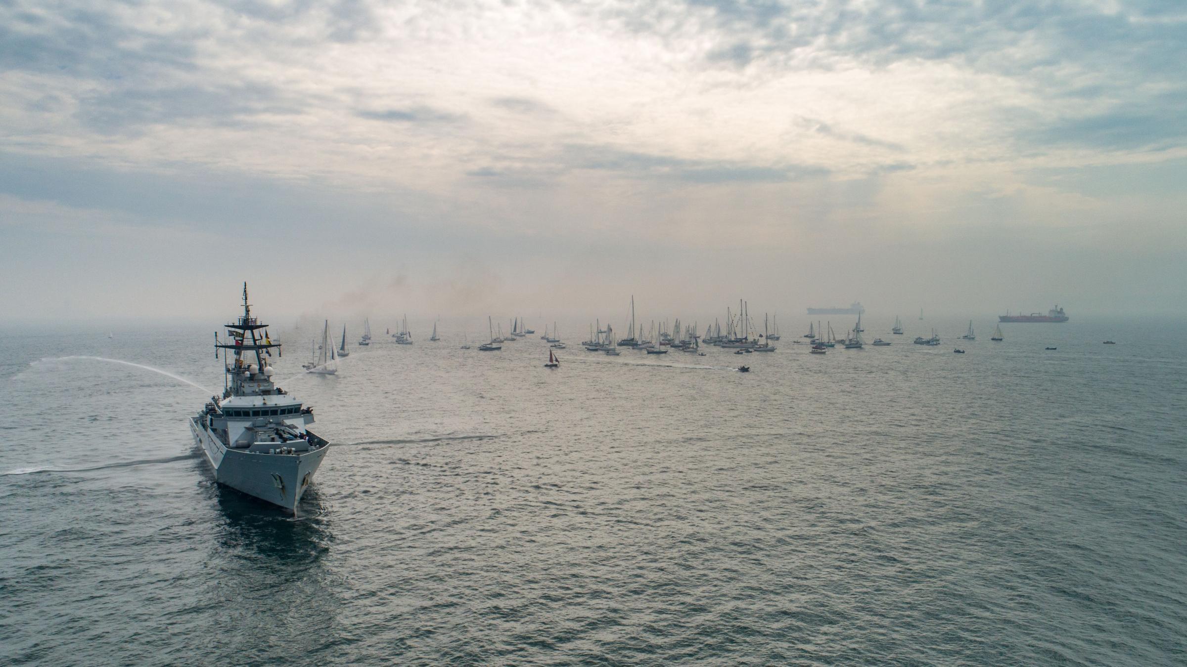 Sir Robin Knox-Johnston's 2019 parade of sail in Falmouth