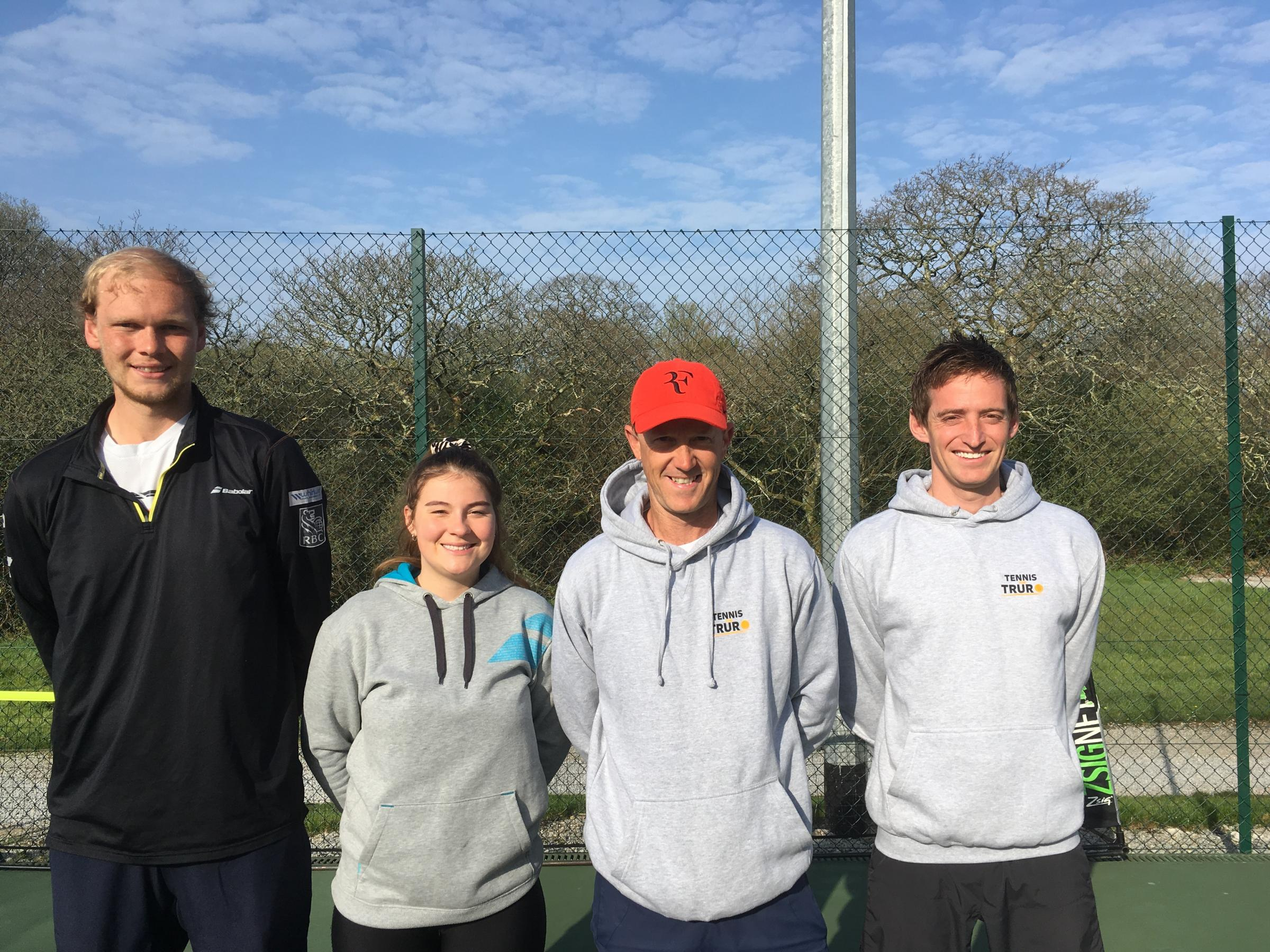 The Tennis For Free team (L-R): Nick Peters, Anya Gough, Ryan Fern and Ed Richards