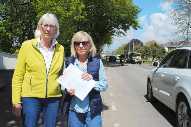 Pam Schofield and Sharron Hough have gathered more than 560 signatures calling for a crossing on Helston's Meneage Road