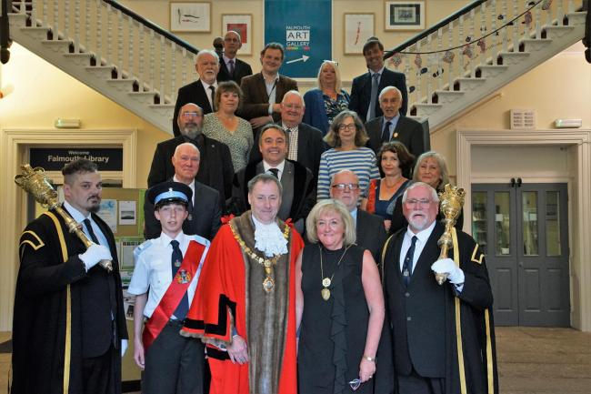 Newly-elected town mayor, Steve Eva, with mayoress Victoria Eva, dignitaries and town councillors